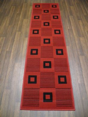 Modern Runner 60x220cm Aprox 8ft Budget Range Red/Black sqaures Easy clean new